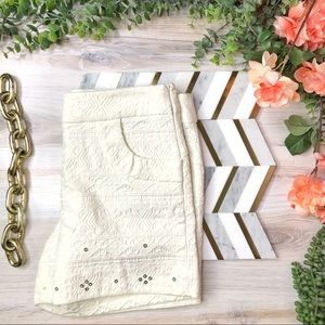 Anthropologie Elevenses Sequin Accent Shorts Ivory